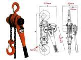 Palang xích lắc tay 1 tấn 1.5 m Kawasaki